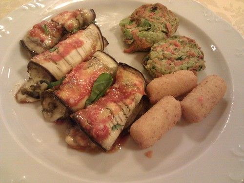 "Eggplant Rolls, ""Baked Potatoes"", Vegetable Medallions-Hotel La Palma, Stresa, Italy"