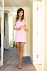 Pink dress_1 (Kyoko Matsushita) Tags: stockings fetish asian tv legs cd crossdressing tgirl transvestite pantyhose crossdresser kyoko  matsushita nylon jambes beine minidress strumpfhose fetisch  collant  ftiche