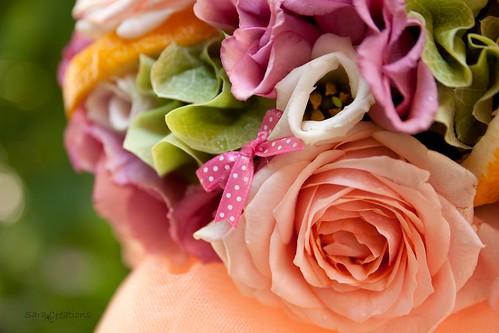 pink & orange & ligt green Lumanare botez ( christening candle )
