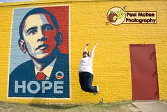 Leapin' for Obama (Paul McRae (Delta Niner)) Tags: blue shadow red yellow beard hope democracy jump jumping election mural day texas senator tx president political politics year houston yay presidential explore fairey barak candidate mustache bandana obeygiant undershirt 2008 campaign leap democrat obama primary 44 shepard wifebeater primarycolors jumpin barackobama barack unaltered handlebarmoustache mightaswelljump paulmcrae leapday campaignheadquarters doyougetit goldstaraward doorwallbrickpainted voteontuesday march42008 leapforstuckcontactsday d800fr