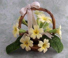 For Mothering Sunday ..... (abbietabbie) Tags: flowers basket mother sugar explore gift primrose motheringsunday sugarpaste gumpasteflower
