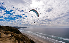 Wide Open (Brian Auer) Tags: ocean california blue sea sky people cliff brown white color beach water sport clouds outside person fly waves unitedstates pacific sandiego outdoor sony naturallight lajolla recreation paraglider chute parachute paraglide blacksbeach superwide a700 beachculture sonya700 february08 sdacandidate