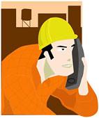 Trabalhador usando telefone celular