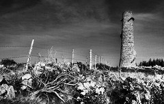 The other side of the fence (allhandsondec) Tags: ireland chimney blackandwhite bw dublin tower abandoned nature forest fence dark scary ruins mine darkness hill steps eerie barbedwire overexposed canonef1740mmf4lusm hdr spiralstaircase kilternan leadmine 3xp ballycorus