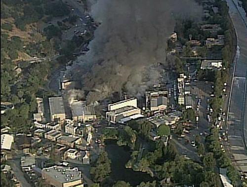 Universal Studios incendio vista panoramica