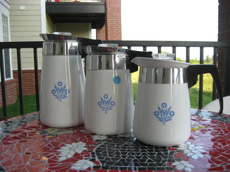 Corning Cornflower Blue Percolators