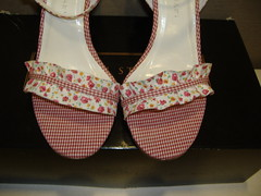 Colin Stuart Floral Gingham Sandals top (PrincessPoochie) Tags: red floral shoes princess sandals gingham heels straps buckles poochie colinstuart shoedaydreams
