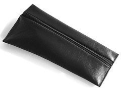 angle zip - black (Yorktown Road) Tags: black leather bag sewing pouch clutch zip sewn repurposed ytr rawedge