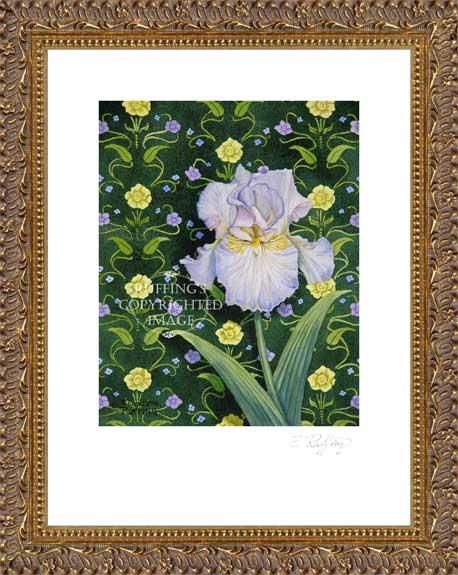 Lavender Iris on Green by Elizabeth Ruffing Framed Print
