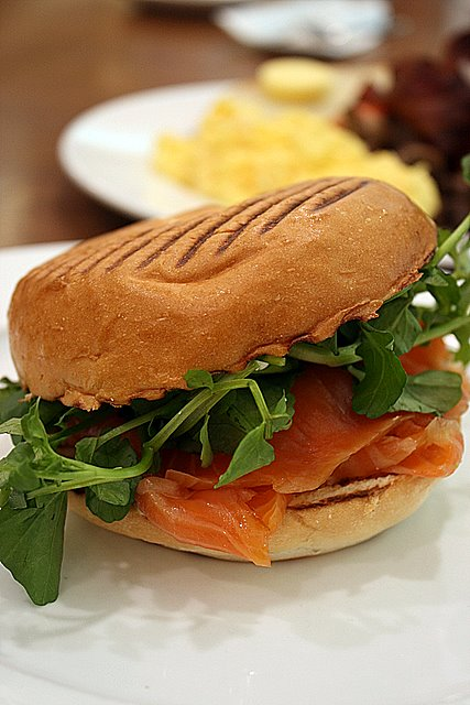 Toasted bagel with smoked salmon, rocket, watercress and avocado