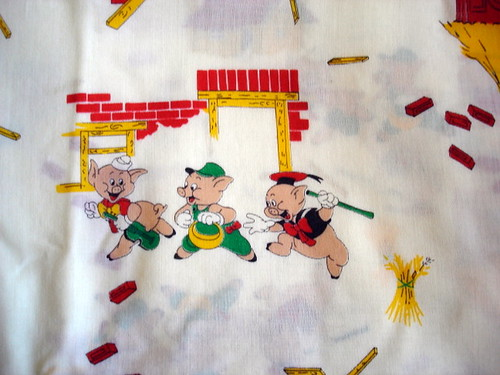 vintage fabric with the Three Little Pigs