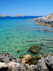 Lindian waters (MarcelGermain) Tags: travel blue sea summer vacation seascape green water beautiful rock geotagged mar nikon holidays rocks mediterranean horizon aegean clear greece rhodes aigua lindos rodes rhodos crystalline grcia   d80 marcelgermain