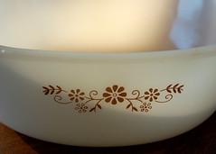 Vintage Dynaware milk glass casserole (VintageElla) Tags: brown white flower kitchen vintage dish housewares casserole daisy 50s pyrex pyrorey