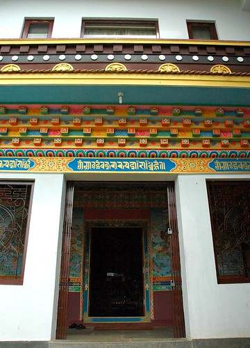 Entrance to Tibetan Buddhist Shrine, Gelugpa sect, architectural details,  Parping, Nepal by Wonderlane