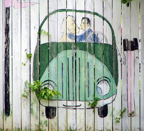 Kissing in the green car