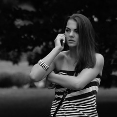Black and white (Svedek) Tags: portrait people bw woman girl face hair square call phone documentary cellular karlovyvary 500x500 aplusphoto