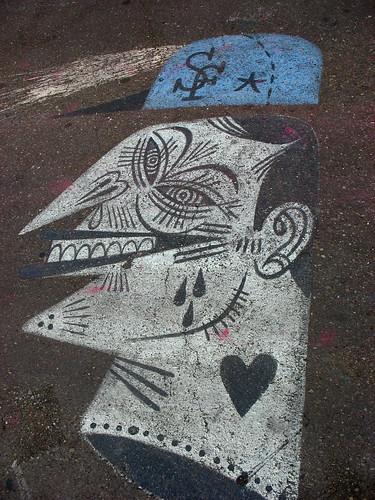head in street