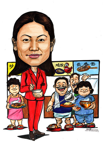 Caricature Grace F&B agent with hawkers A4