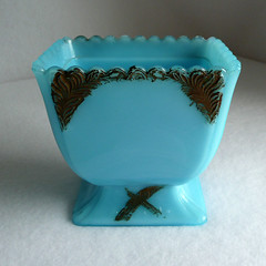 Victorian era blue milk glass (dreamwhimsy) Tags: blue mark victorian milkglass