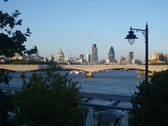 City of London skyline form Embankment (sparkynufc_86) Tags: bridge summer london skyline stpauls waterloo riverthames gherkin embankment cityoflondon