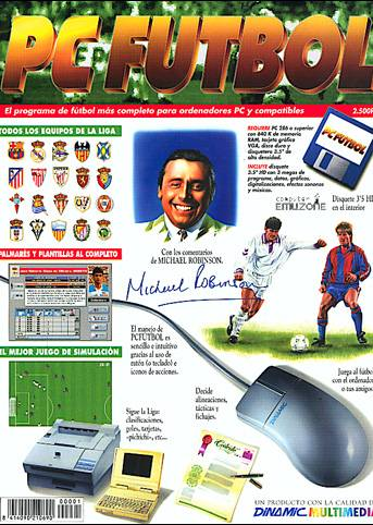 Portada del manual revistilla de PC Futbol 2.0 con Michael Robinson