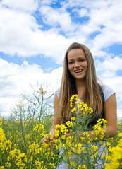 4138 (miah.) Tags: blue sky girl smile field yellow female young longhair naturallight laughter rapeseed brownhair coleseed