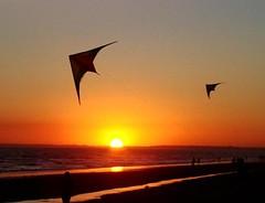 Pandorgas I (zcomozorglub) Tags: sunset sea sol beach mar playa puesta siluetas reflejos cometas pandorgas