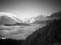 Low Cloud in Chamonix Valley (Mark.D.Baker) Tags: blackandwhite cloud snow mountains alps landscape snowboarding scenery searchthebest alpine chamonix frenchalps chamonixvalley leshouches explored