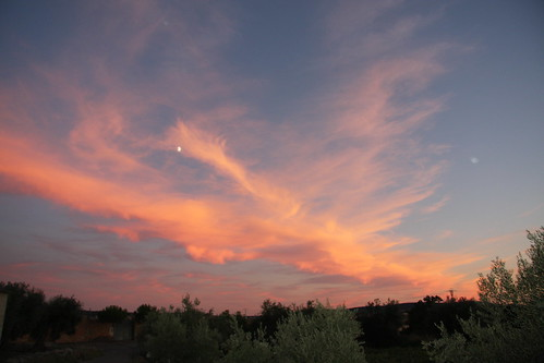 Wispy Clouds and Moon