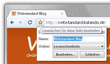 Google Chrome Lesezeichen