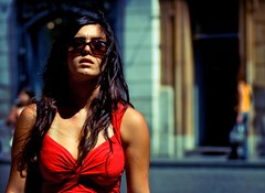 (juliusfrumble) Tags: street red woman sunglasses walking nikon candid
