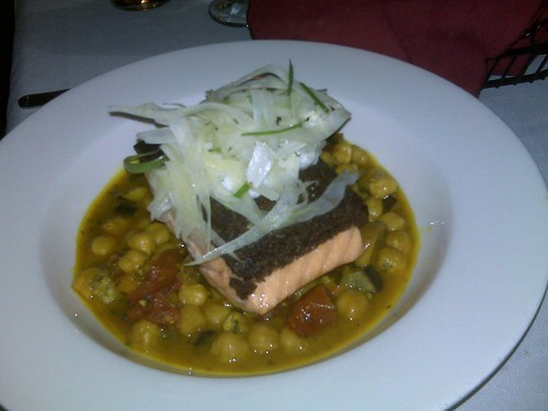 Pumpernickel Crusted Salmon with Chickpea Ragout and Shaved Fennel