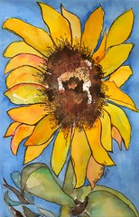 Grandpa's Sunflower (jjlcooterpie) Tags: sky art leaves lines yellow watercolor painting happy bright sunflower bold