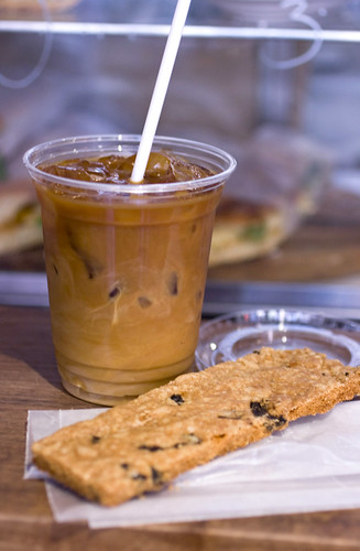 Iced coffee and cured olive cookie
