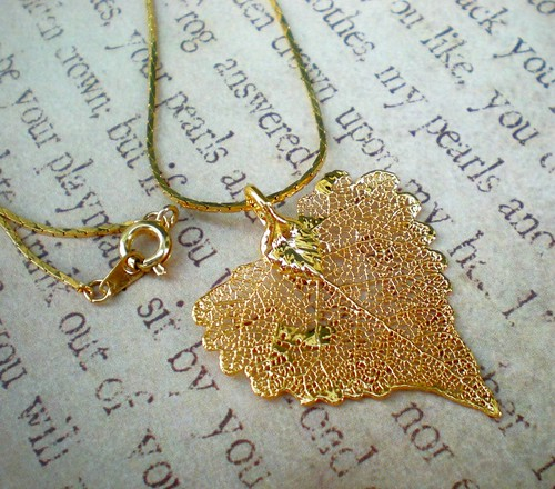 24K Gold Dipped Filigree Leaf Necklace on Gold Chain