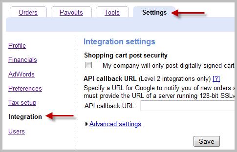Google Checkout Settings tab