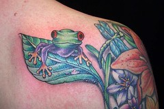 tree frog tattoo (maliareynolds) Tags: flowers atlanta leaves animal animals leaf dragonfly amphibian tattoos amphibians memorialtattoo maliareynolds femaletattooer atlantatattooer