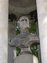 Melting 2 (keenansblue) Tags: man face statue distorted cemetary victorian ruin bust forgotten gravestones disfigured