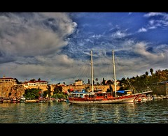 A portrait of '' Antalya '' the old city (canmom ( Carrie )) Tags: blue sea sky holiday color history colors clouds marina turkey landscape boats landscapes ship trkiye antalya hdr oldcity fpc photomatix kaleii abigfave canoneos350drebel platinumphoto colorphotoaward theunforgettablepictures theperfectphotographer goldstaraward canmom flickrlovers canvasprintsforless