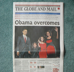 Obama Overcomes (Canadian Pacific) Tags: family portrait canada news newspaper headline headlines frontpage firstlady barackobama theglobeandmail fullpage presidentoftheunitedstatesofamerica presidentelect obamawins obamaovercomes