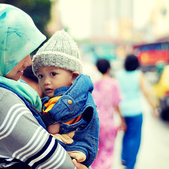 Somewhere in Kuala Lumpur (wazari) Tags: old boy portrait baby smile face kids vintage pose children square bigeyes eyes nikon asia dof child close emotion bokeh expression hijab posing son retro depthoffield portraiture myson malaysia expressive kualalumpur feeling emotional motherandson tender sayang anakku melayu malay wajah anak babycarrier myheart 500x500 potret 50mmlens nikond200 availablelightphotography naturallightphotography anakkecil haiqal closetomyheart ibudananak kasihsayang wazari expressi aseankids