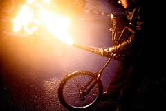 Bicycle With Flame Thrower