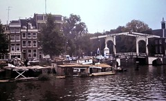 gm_03329 Herengracht Canal Drawbridge, Amsterdam 1984 (CanadaGood) Tags: bridge blue holland color colour building netherlands dutch amsterdam analog boat canal europe slidefilm 1984 kodachrome eighties canadagood slidecube