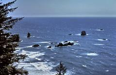 gm_03834 Oregon Coast Rocks 1981 (CanadaGood) Tags: blue sea usa color colour oregon analog america slidefilm pacificocean 1981 kodachrome geology eighties canadagood slidecube