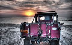 Photo of the week - Land Rover (momentaryawe.com) Tags: ocean sunset sun beach fishing sand landrover oman hdr masirahisland