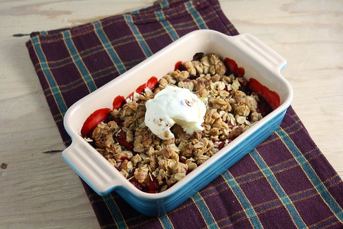 Strawberry Crisp with Ice Cream