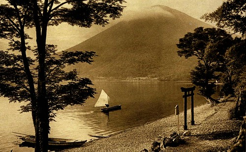 MOUNT NANTAI FROM UTAGAHAMA [UTAGA BEACH] ALONG THE SHORE OF LAKE CHUZENJI NEAR NIKKO -- A Lovely Scene in Old Japan
