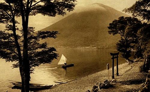 MOUNT NANTAI FROM UTAGAHAMA [UTAGA BEACH] ALONG THE SHORE OF LAKE CHUZENJI NEAR NIKKO -- A Lovely Scene in Old Japan