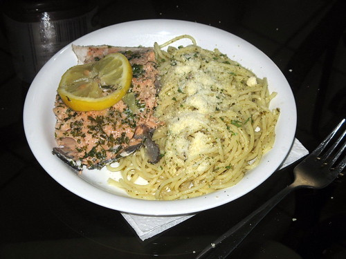 Salmon, Spaghetti and Pesto