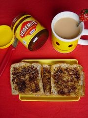 Oh happy day! (Shanti, shanti) Tags: breakfast tea vegemite welltaken explored
